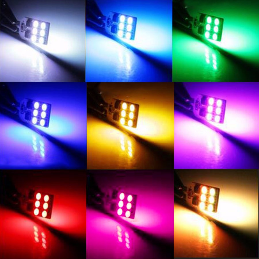 PACK 2 BOMBILLAS T10 W5W DE CUÑA 12 LED RGB FLASH COLOR AJUSTABLE interior coche posición matricula multi color