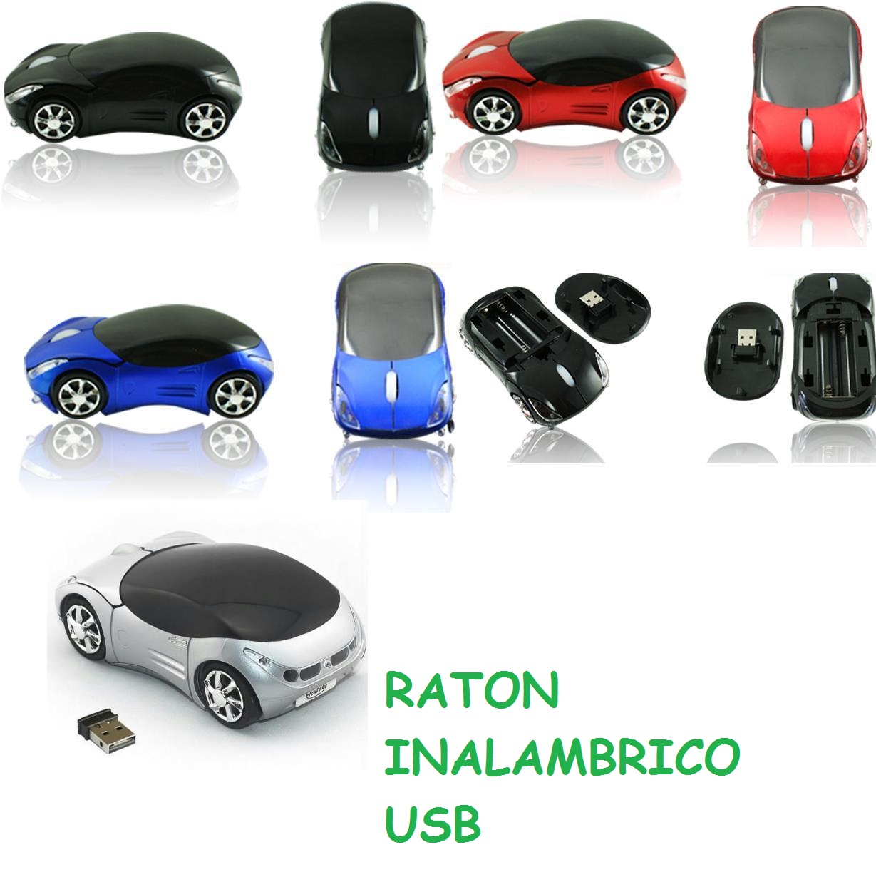 raton usb inalambrico sin cables con forma de coche de colores para windows linux mac android pc ordenador tablet 2 botones y rueda