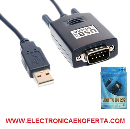 Adaptador usb a puerto com de serie db-9 serial port rs232 windows pc ordenador portatil sin puerto serie