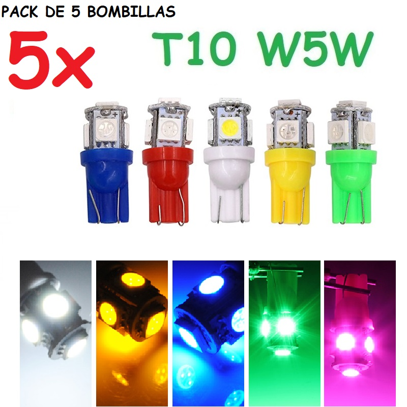 5x Bombillas LED T10 w5w 12v coche furgoneta camion moto base 10mm Luz matrícula Intermitentes laterales habitáculo interior posición luces tablero